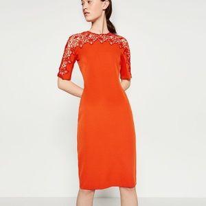 Zara lace detail dress NWOT size M